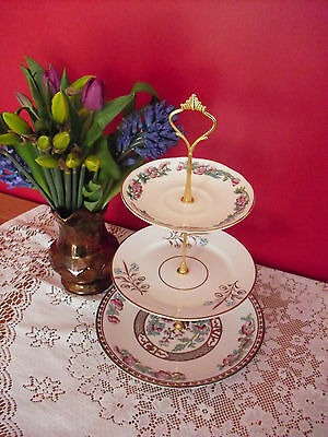 Lovely retro Vintage bone china mixed mismatch   3 Tier Cake stand
