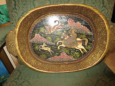 Antique Persian Islamic Hand Painted And Carved  Hunting Scene Tray