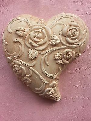 Flower ornate heart rubber latex mould mold wall decor plaque home garden use