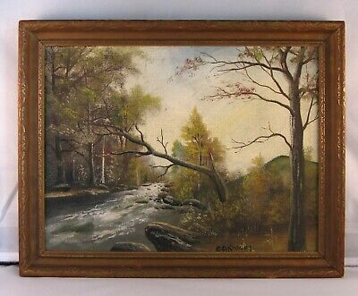 Antique American Oil Painting C. 1900 New England Landscape Signed C. A. Knight