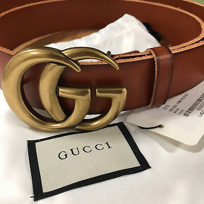 b10b55c1e40 GUCCI BROWN MARMONT GG Leather Belt Gold Buckle size 85   34 fits 28 ...