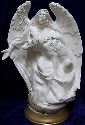 Ceramic Bisque Ready to Paint Indian Angel with Wolf