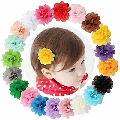 20PCS Chiffon Flowers Baby Girls Hair Clips Snap Alligator Clips Barrette