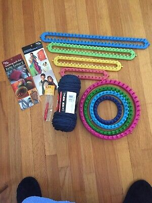 Knitting Lot Knifty Knitter Long and Round Looms Books Hook Yarn