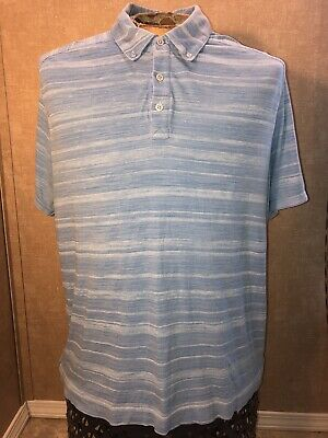 59143fb0b86 Made Cam Newton Light Blue Polo Golf Shirt Men s Size XL Striped Casual  Gucci