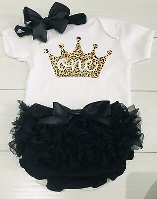 Girls Frilly Tutu Knicker Cake Smash 1st First Birthday Outfit Leopard Print Blk