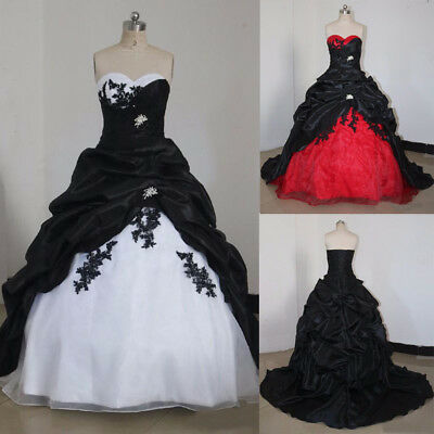 Vintage Gothic Black and White Wedding Dress Formal Dress Appliques Bridal Gowns