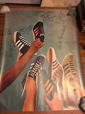 1970's ADIDAS Promo Poster Various Sneakers with Track star signatures 23.5x31.5