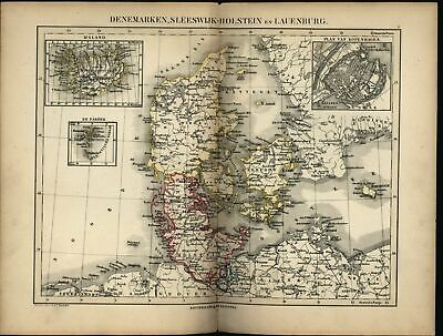 Denmark Iceland w/ Copenhagen inset plan c. 1865 Petri scarce antique Dutch map