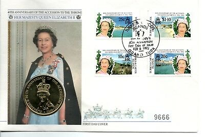 40th ANNIVERSARY of the Accession, 1992, 5 Crown Coin Cover, Turk