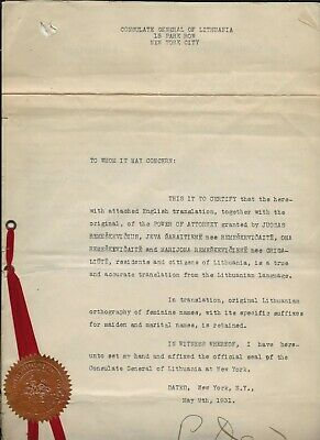 1931 Lithuanian Set of Documents NY Consulate with US Foreign Service Stamp