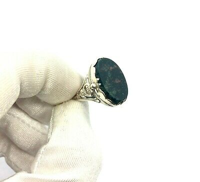 Antique Edwardian Sterling Silver Oval Bloodstone Men's Signet Ring Size – O