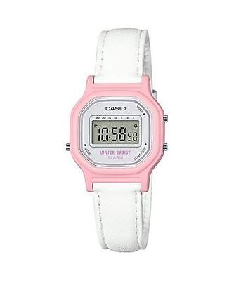 Casio LA11WL-4A, Women's Digital Watch, White Leather Strap, Alarm