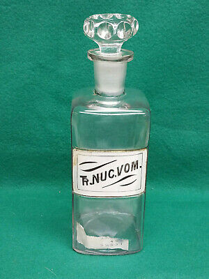 Rare Signed & Dated 1800s Apothecary Jar W/Hand Decorated Label Under Glass (2)