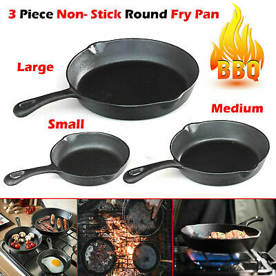 3 PCs Pre Seasoned Cast Iron Non- Stick Skillet Set Grill Round Fry Pan UK POST