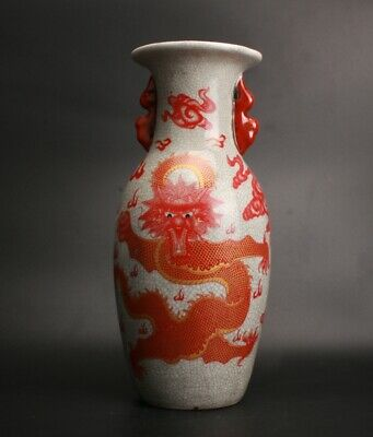 Chinese Porcelain Hand Painted Dragon Vase Collection Gift Decoration