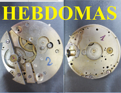 vecchio movimento tasca hebdomas 8 jours movement pocket watch rare old vintage