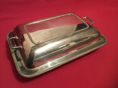 Antique Silver Plate Entree Dish Covered Tureen Serving Bowl DISH