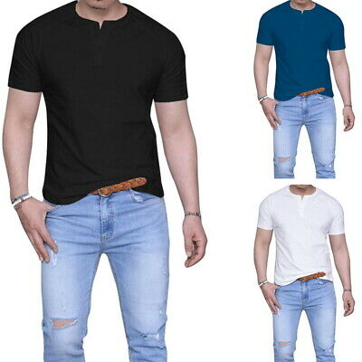 Men Henley Shirt Short Sleeve Slim Fit T Shirts Cotton Pullover Classic Buttons