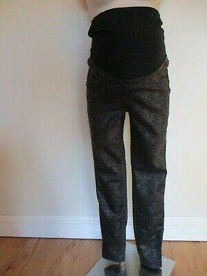 cc0a45a4f038b Next Maternity Black Damask Print Over Bump Skinny Jeggings Jeans Size 12  Long