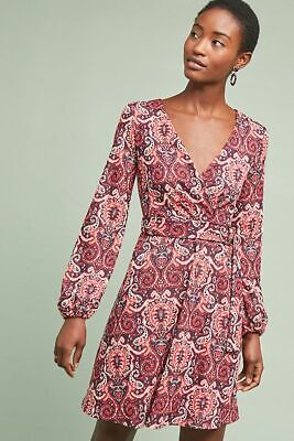 5c364d9c0c35 New Anthropologie Paisley Belted Dress by Maeve RED MOTIF Size: L NWT