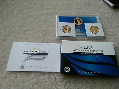 2018 P D S American Innovation Dollars Golden Proof + Box & COA 3 Coins PDS 18ga