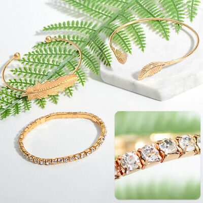Women Elegant 3Pcs Leaf Open Bangle Gold Bracelets Wristband Chain Jewelry Gift