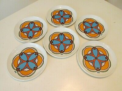 Vintage 6 Dinner Plate Set PETER MAX Clover Iroquois China Syracuse NY
