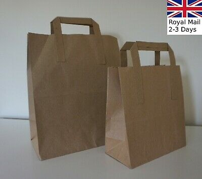 Quality Paper Carrier Bags Brown SOS Kraft Takeaway Party Lunch Food Flat Handle