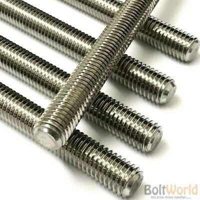 A4 Stainless Steel Fully Threaded Rod Bar Studding Thread M3 M4 M5 M6 M8 M10 M12