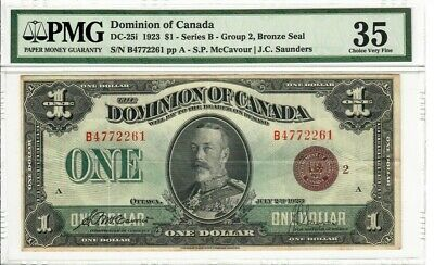 1923 Dominion of Canada $1 DC26i McCavour-Saunders, Bronze Seal No Reserve