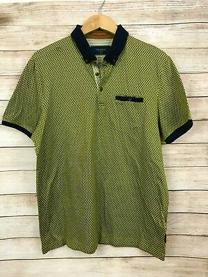 86c282316 Ted Baker Mens Green Polka Dot Slim Fit Button Down Polo Shirt Sz 5 (XL