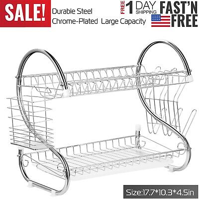Large Capacity Stainless Steel 2 Tier Dish Drainer Drying Saver Storage Rack