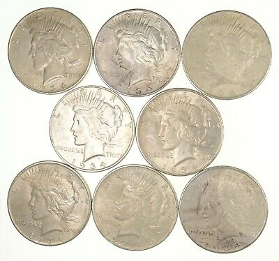 Lot (8) 1934-D Peace Silver Dollars - Nice Coins *0800