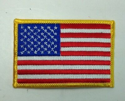 """USA American Flag Patch Gold Border Iron On Embroidered 3 1/2"""" X 2 1/4"""""""
