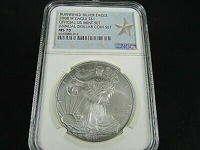 2008 W Burnished Silver American Eagle Annual Dollar Set NGC Ms 70  Star Label