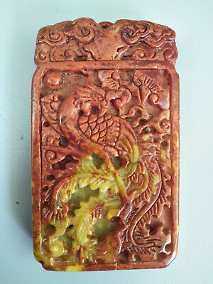 Chinese Exquisite Hand-carved old jade Phoenix pendants D10