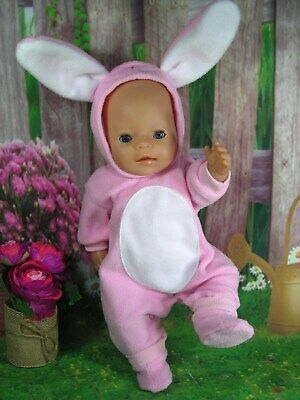 "Dolls clothes  for 17"" Baby Born  doll~PINK EASTER BUNNY RABBIT COSTUME & BOOTS"