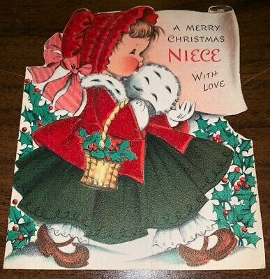 Merry Christmas Niece.Norcross 1950 S Merry Christmas Niece Vintage Greeting Card Used