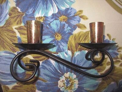 Eames Era Vintage Retro Black Metal Work Anodised twin Candle Holder