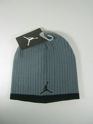c5999766920 Nike Jordan Jumpman Youth Boys Knit Beanie Hat 8 20 Grey Black  20