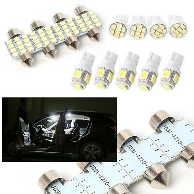 13PCS T10 White LED Interior Inside Light Dome Trunk Map License Plate Lamp Bulb