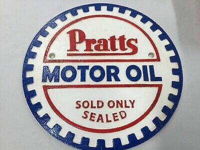 Pratts Round Motor Oil Cast Iron Sign Vintage Looks Old Badge Signs