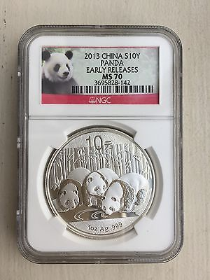 2013 China 10 Yuan 1oz coin Silver Panda NGC MS70 RED PANDA LABLE Early Releases