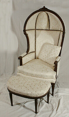 ANTIQUE 19th CENTURY FRENCH LOUIS XVI HOODED PORTERS CHAIR WITH OTTOMAN & PILLOW