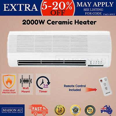 Heller Ceramic Wall Mounted Heater 2000W Furnace Remote Control & Timer New