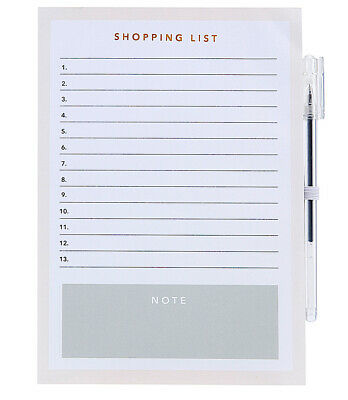 Magnetic Fridge Grocery Shopping List / Things To Do List Notes Memo & Pen