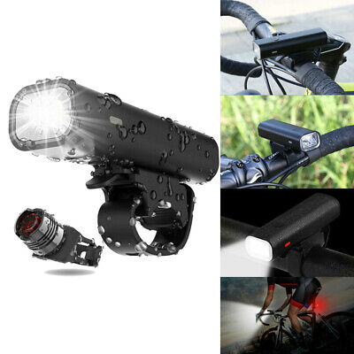 USB Rechargeable LED Bicycle Bike Front Headlight and Rear Tail Light Lamp Set