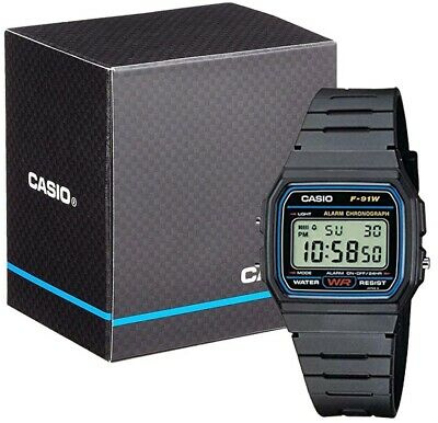 NEW Casio Collection  F-91W Mens Digital LCD Watch Stopwatch Alarm Light etc