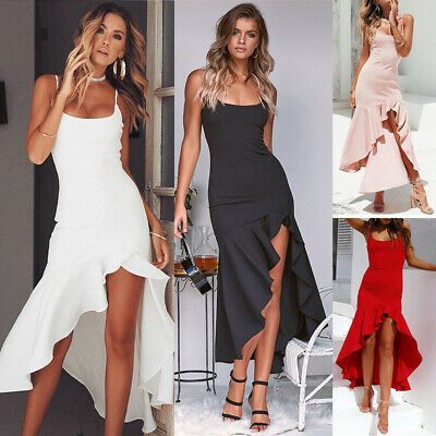Sexy Women's Strappy Sleeveless Bandage Asymmetric Bodycon Evening Party Dress